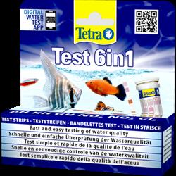Тест для аквариумной воды Tetra TestStrips 6 in1 /GH, KH, NO2, NO3, PH+Cl2/ 25 полосок. - фото 19827