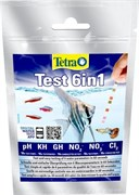 Тест Tetra TestStrips 6 in1 /GH, KH, NO2, NO3, PH+Cl2/ 10 полосок.