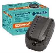 Компрессор Homefish 601 одноканальный без регулировки для аквариума 40-250л, 1,5л/мин 2,0 Вт.