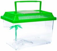 Переноска Barbus Box 008 с пластиковой крышкой, островком и пальмой 21х13,5х14 см.