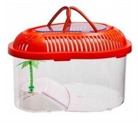 Переноска овальная Barbus Box 010 с пластиковой крышкой, островком и пальмой 21х16х13 см.
