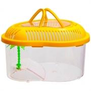 Переноска овальная Barbus Box 011 с пластиковой крышкой, островком и пальмой 27х20,5х16,5 см.